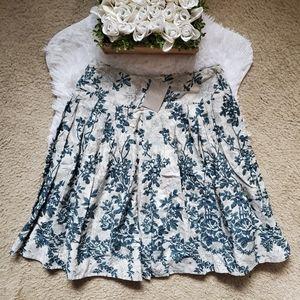 Anthropologie Odille Blue Floral Skirt